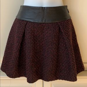 BCBG leather and tweed skirt